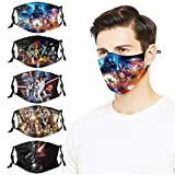 5Pcs Reusable Star-Wars Face Cover Mask with 10 Fi-lters Washable Adjustable Elastic Strap Mouth Cover for Adult Men Woman