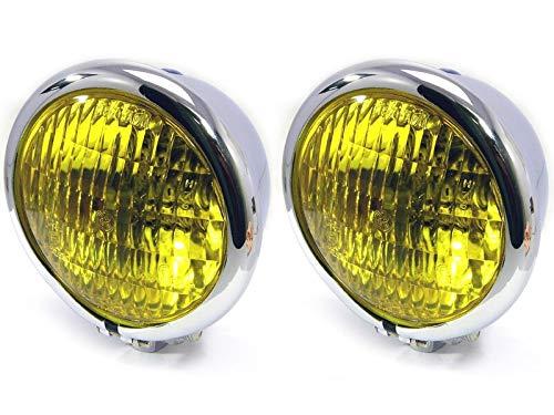 Klein Gelbe Linsen Metall Scheinwerfer für Oldtimer Maßgefertigt Hotrods 4.75 inch / 120mm D Chrom Bates Stil E-Geprüft