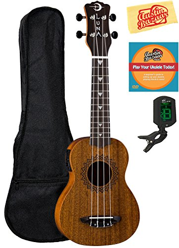 Luna Vintage Mahogany Soprano Acoustic-Electric Ukulele Bundle with Gig Bag, Tuner, Austin Bazaar Instructional DVD, and Polishing Cloth