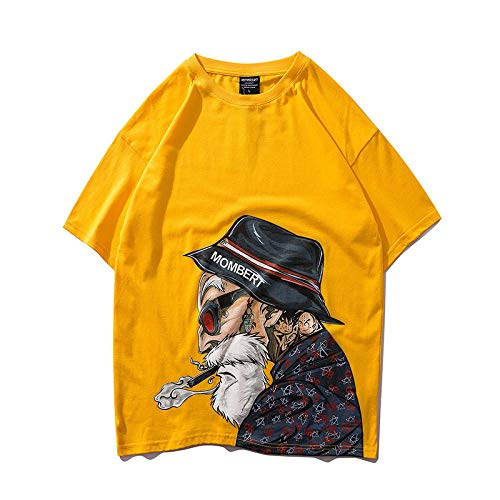 Hip-Hop Street T-Shirt Dragon Ball Tortuga Hada Oversize Manga Corta Suelta Manga de Cinco Puntos Pareja Casual Manga Corta tee-3_M