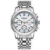 Relojes De Pulsera,3 Ojos, 6 Agujas, Reloj Multifuncional para Hombre, Reloj De Negocios con Banda De Acero Inoxidable, Carcasa Blanca, Cara Blanca Y Uñas Azules