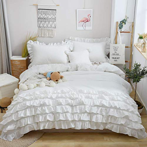 Softta Ruffled Bedding Sets Twin Size Duvet Cover Sets Bohemia Reversible Zipper Closure 100% Pure Natural White Washed Cotton One 66×86 Inches Quilt Cover with 2 20×30 Inches Pillowcase