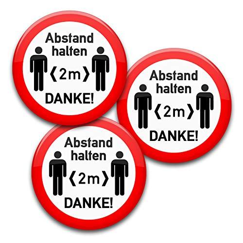 Abstand halten!-Buttons: Hinweis-Anstecker in verschiedenen Designs und Mengen (37 mm, Abstand 1 3er Set)