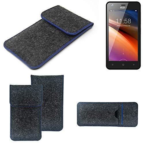 K-S-Trade® Filz Schutz Hülle Für Haier G21 Schutzhülle Filztasche Pouch Tasche Case Sleeve Handyhülle Filzhülle Dunkelgrau, Blauer Rand