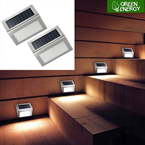 Lampe Murale Solaire 3 LED Acier Inoxydable Villa Allée de jardin Clôture Léger Cour de jardin Extérieur Imperméable à l'eau Énergie propre (2 paquets)