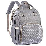 BabyLion Wickelrucksack - Wickeltasche mit Wickelunterlage, isolierten Taschen, große Kapazität, wasserdichter Reiserucksack, stilvoll, multifunktional, elegant, praktisch