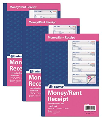 """Adams Money and Rent Receipt Book, 3-Part, Carbonless, White/Canary/Pink,7 5/8"""" x 10 7/8"""", 100 Sets per Book, Pack Of 3"""