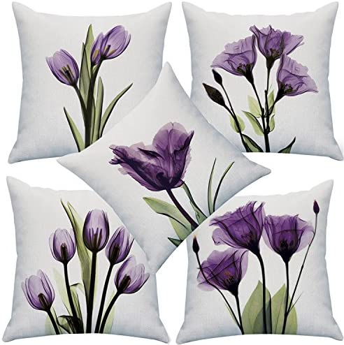 Best YMSDZHL Print Elegant Tulip Purple Flower LinenThrow Pillow Cover Sofa Couch Art Painting for Living