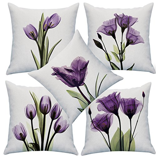 YMSDZHL Print Elegant Tulip Purple Flower LinenThrow Pillow Cover Sofa Couch Art Painting for Living Room Decor Cushion Cover and Modern Home Decorations Pillowcase (1818 in, 5PCS)