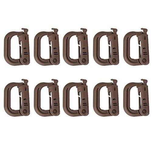 Pixnor 10 pièces mousquetons boucles tactique Porte-clés crochet D-Ring (Marron)