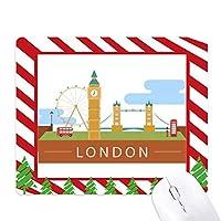 ロンドン橋の英国イギリスビッグベン、ロンドンアイのイラスト ゴムクリスマスキャンディマウスパッド