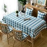 GUOIAN Mantel a Cuadros, Mantel Lavable, Moderno Mantel Rectangular Simple de Algodón y Lino,Sky Blue,100 * 160cm