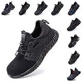 Zapatos de Seguridad Hombre Mujer Zapatillas de Trabajo con Punta de Acero Ligeros Calzado de Industrial y Deportivos Sneaker Negro Azul Gris Número 36-48 EU Negro 42