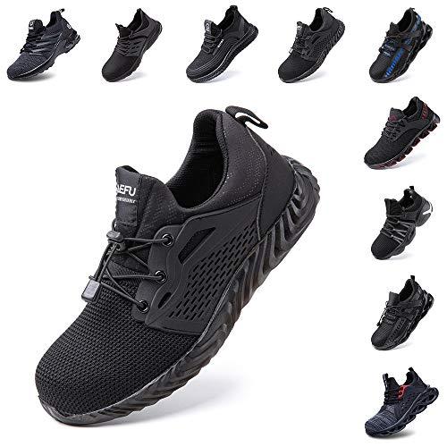 Zapatos de Seguridad Hombre Mujer Zapatillas de Trabajo con Punta de Acero Ligeros Calzado...