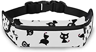 SLHFPX Black Cat Head Fanny Packs for Women Men Unisex Waist Bag Pack with Headphone Jack and Zipper Adjustable Strap Fashion Bum Bag for Party, Music Festival, Rave, Hiking, Vacation, Trip