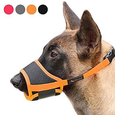 Heele Dog Muzzle Nylon Soft Muzzle Anti-Biting Barking Secure?Mesh Breathable Pets Mouth Cover for Small Medium Large Dogs 4 Colors 4 Sizes (XL, Orange)