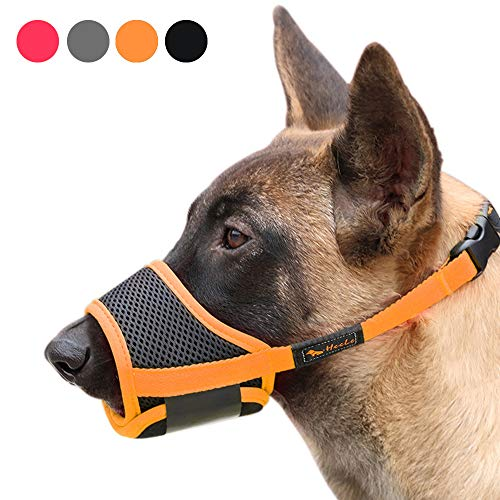 Heele Dog Muzzle Nylon Soft Muzzle Anti-Biting Barking Secure,Mesh Breathable Pets Mouth Cover for Small Medium Large Dogs 4 Colors 4 Sizes (L, Orange)