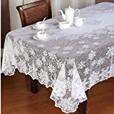 San Tungus Holiday Party Rectangular White Lace Tablecloths, 60 x 90-Inches White Snowflake Modern Christmas Lace Table Cloths Cover