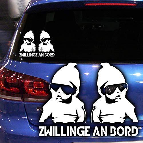 Auto Aufkleber Zwillinge an Bord | Autoaufkleber Twins On Board Sticker | 20 x 15 cm, Farbe Weiß | Motiv Cooles Baby Carlos mit Sonnenbrille von Hangover