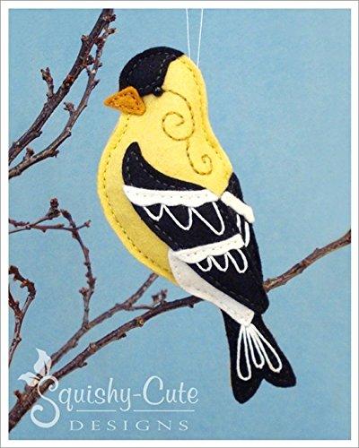 Goldfinch Sewing Pattern - Bird Ornament Felt Plushie Pattern & Tutorial