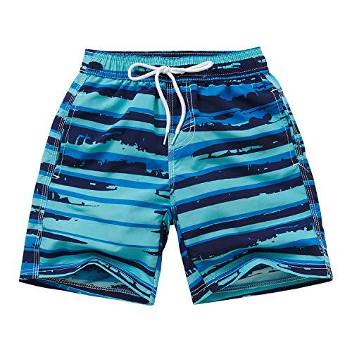 Adorel Shorts de Bain Plage Eté Imprimé avec Doublure Garçon Rayure Bleue 13-14 Ans