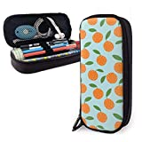 Lawenp Alta capacidad Orange Cute Cartoon Fruit Themed Pattern Printed Mini School Pencil Case Holder Pouch Office Pen Box Zipper Bag Set Pu Leather Zip for Girls Boy Men Women Accessories