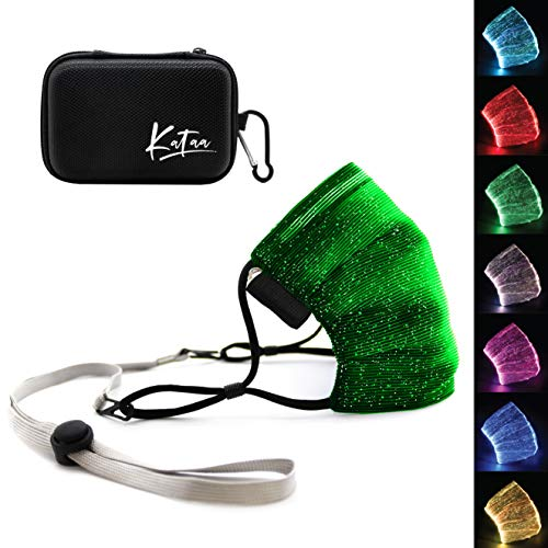 Kataa Light Up Luminous Face Mask LED for Adults and Kids Rechargeable Glowing Luminous Mask with Portable Case, Adjustable Holder Strap, Filter and Charger for Halloween, Christmas, Parties