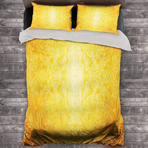 Miles Ralph Yellow Pillow Duvet Cover Victorian Style Antique Pattern with Ornamental Flourish Vintage Design Illustration Oversized Down Duvet Cover 68'x86' inch Marigold