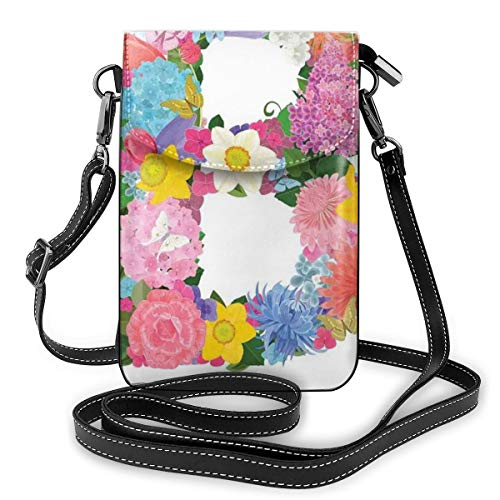 Women Small Cell Phone Purse Crossbody,Romantic ABC Sign With Fresh Spring Blossoms...