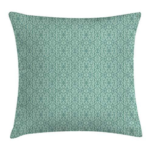 Funda de cojín Verde para cojín, diseño de jardín Victoriano de Estilo Vintage, Adornos Antiguos de diseño Antiguo, 45 x 45 cm, Espuma de mar Turquesa
