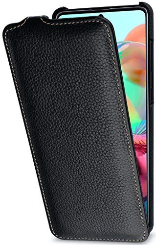 StilGut UltraSlim entwickelt für Samsung Galaxy A71 Hülle - Samsung Galaxy A71 Flip Case aus Leder, Klapphülle, Handyhülle, Lederhülle - Schwarz