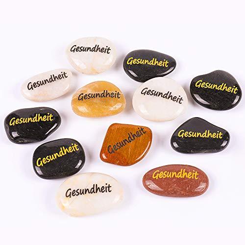 RockImpact 12 Stück Gesundheit Steine mit Spruch Glück Gravierte Steine Gravur Inspirierende Steine Glücksbringer Ermutigung Dankbarkeit Geschenk Glückssteine (Großhandel, je 5-8 cm)