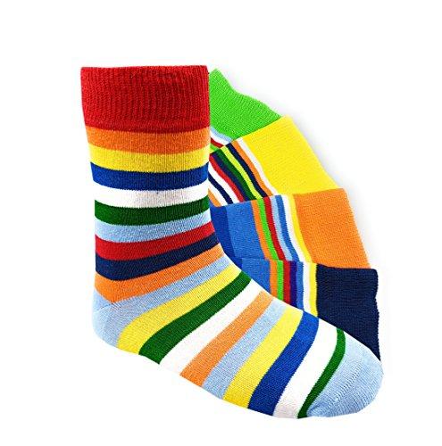 Kinder Socken bunte Ringel handgekettelt 6 Paar aus besonders weicher Baumwolle Gr. 39-42 (39-42, GLRingel)