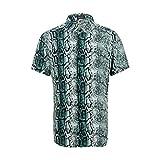 LINCINK Men's Snakeskin Crocodile Print Shirt Disco Casual Button Down Short Sleeve Hawaiian Shirt Modern Shirt Green
