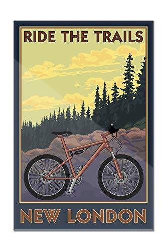 New London, Connecticut - Ride the Trails - Mountain Bike Scene 103120 (16x24 Acrylic Wall Art Gallery Quality)