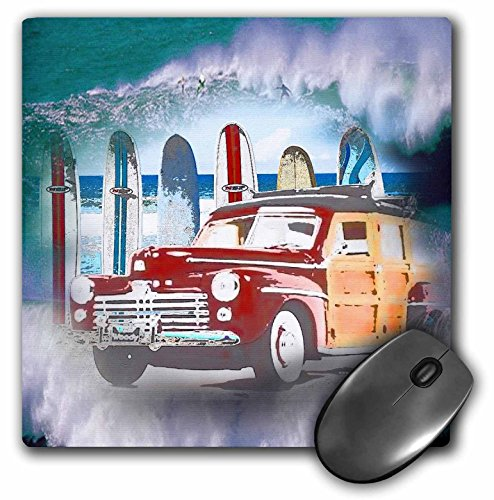 3dRose LLC 8 x 8 x 0.25 Inches Classic Woody Car and Big Wave Background with Surfer A Great Surfing Lover Gift Mouse Pad (mp_128843_1)