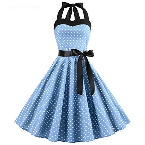 ONLY CHARM Damen Neckholder Kleider, Elegant Vintage Retro Cocktailkleid 1950er Rockabilly Petticoat Faltenrock Festliche Kleider, Blau,XXL