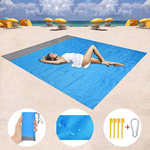 Stranddecke, 200 x 140 cm Sandfreie Picknickdecke Campingdecke Strandtuch, wasserdichte sandabweisende Camingmatte, schnell troknend, Ultraleicht und kompakt Campingdecke für Camping,