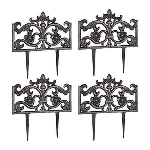 Relaxdays 4er Set Beetzaun Gusseisen, mit Erdspieß, einfaches Stecksystem, Zierzaun, H x B x T 37 x 36 x 2 cm, Bronze