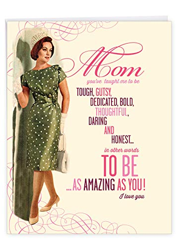 NobleWorks - Jumbo Happy Mother's Day Card (8.5 x 11 Inch) - Retro, Vintage Greeting Card for Mom - Amazing As You J6943MDG