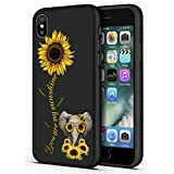 Good-Luck iPhone Xs Max Case,Sunflower and Cute Elephant Slim Anti-Scratch Shockproof Leather Grain Soft TPU Back Protective Cover Case for iPhone Xs Max (2018) 6.5 Inch