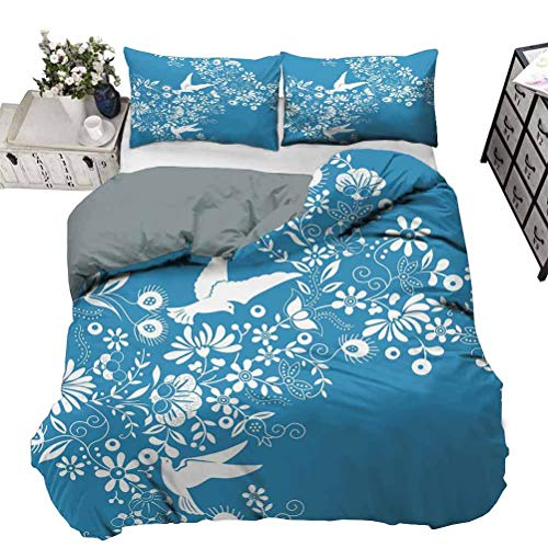 Quilt Cover Ornamental Blooming Flowers on Branches with Flying Dove Birds Chinese Design Teen Bedding Cover No Peculiar Smell, Environmental Friendly Fabric Blue White King - 264 x 230 CM