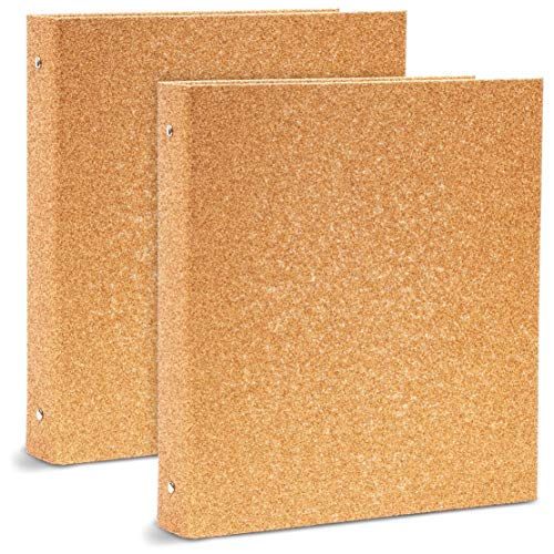 Rose Gold Glitter 3 Ring Binder, Office Accessories (10.7 x 12 x 1.8 in, 2 Pack)