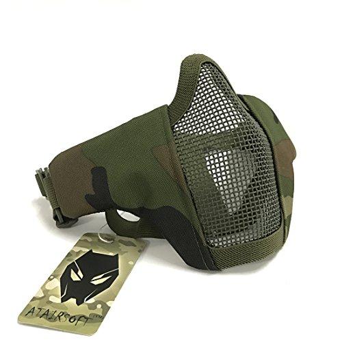WorldShopping4U Tactical Airsoft CS Schutzkleidung Strike Stahl Halbmaske mit 2-Gürtel für Jagd Paintboll (Woodland Camo)