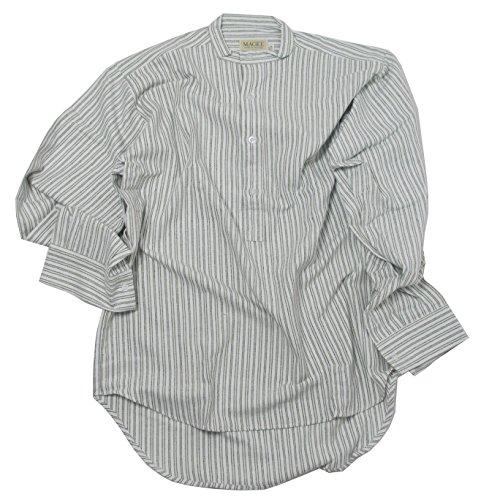 McLaughlin's Irish Shop Irisches Grandfather Hemd aus Baumwollflannel. Weiß mit grünen Streifen. (L)