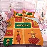Hiiiman - Juego de funda de edredón de 3 piezas con cierre de cremallera, diseño de cactus y tequila, diseño de limón y pimienta, diseño de fiesta (3 piezas, tamaño king), suave y cómodo