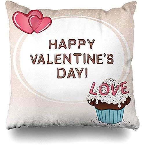Imodest Kussenhoezen Snoep Chocolade Cupcake Vanille Roze Kers Gefeliciteerd Kussensloop 45 x 45 cm Kussensloop set van 2