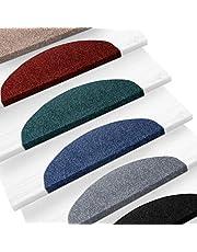 casa pura Alfombras para escaleras - Alfombrillas para peldaños   Paris   Set 15 Piezas   Antideslizantes y Adhesivas   Amortigua Sonidos   Distintos Colores (Gris, 22x65 cm)