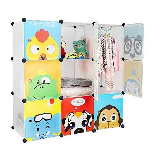 BAMNY Armario Modular Infantil Estantería Portátil para Guardar Ropa, Zapatos, Juguetes o Libros Organizador con Puertas y Perchas Decorados con Dibujos Animados (9 cubos, blanco)
