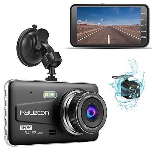 Dash Camera for Cars,hyleton 1080P HD Dual Dash Cam Front and Rear,4' IPS Screen Dashboard Camera Recorder,170°Wide Angle, G-Sensor,WDR, Night Vision,Loop Recording, Parking Monitor, Motion Detection